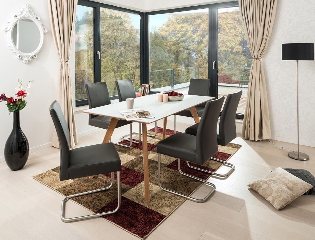 tischgruppe tisch tromsa vidrio weiss eiche 140x90 6. Black Bedroom Furniture Sets. Home Design Ideas