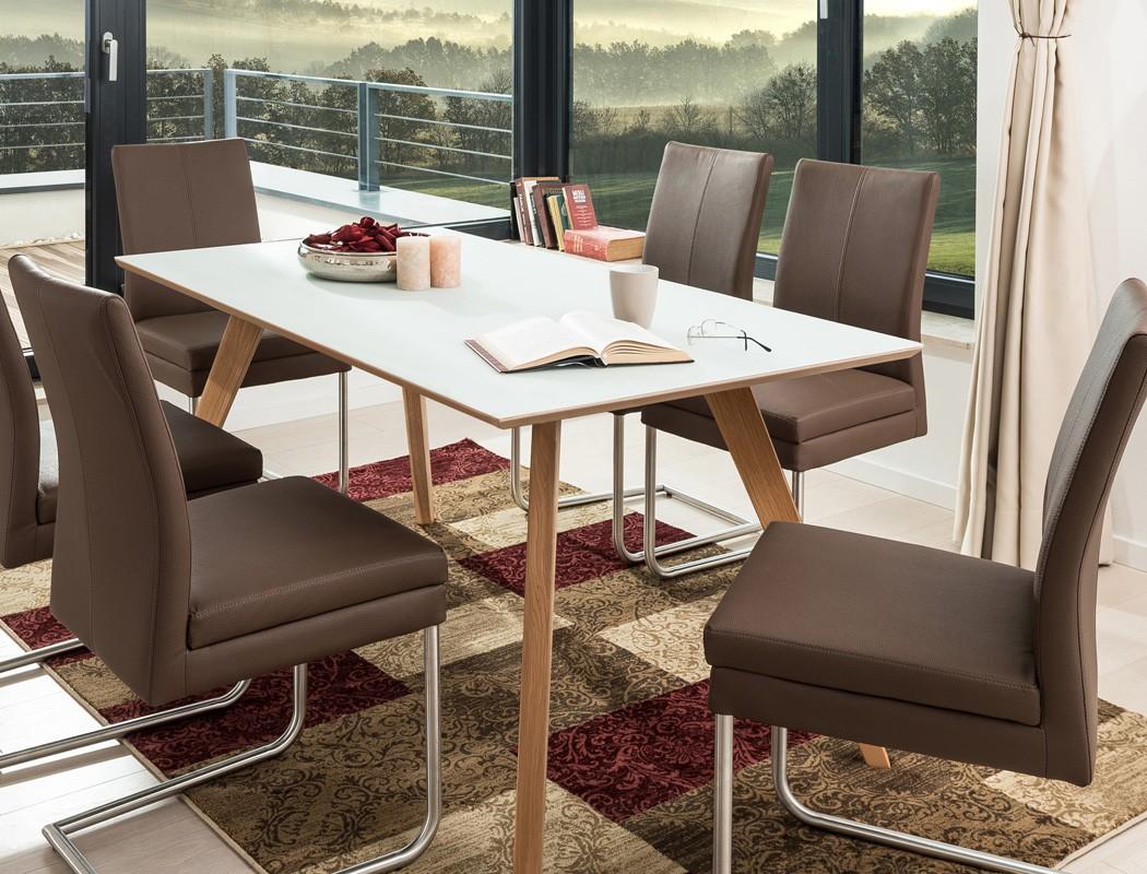 essgruppe tisch tromsa vidrio wei eiche 140x90 6. Black Bedroom Furniture Sets. Home Design Ideas
