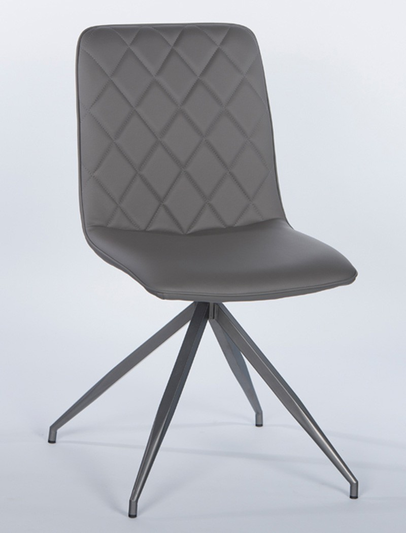 Polsterstuhl elina kunstleder grau gestell metall for Esszimmerstuhl metall