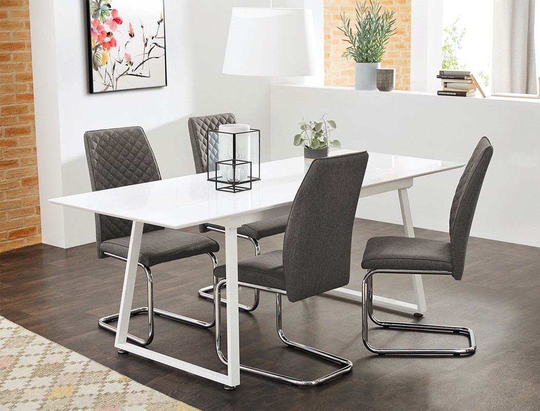 schwingstuhl benito webstoff grau freischwinger esszimmerstuhl st hle wohnbereiche esszimmer. Black Bedroom Furniture Sets. Home Design Ideas