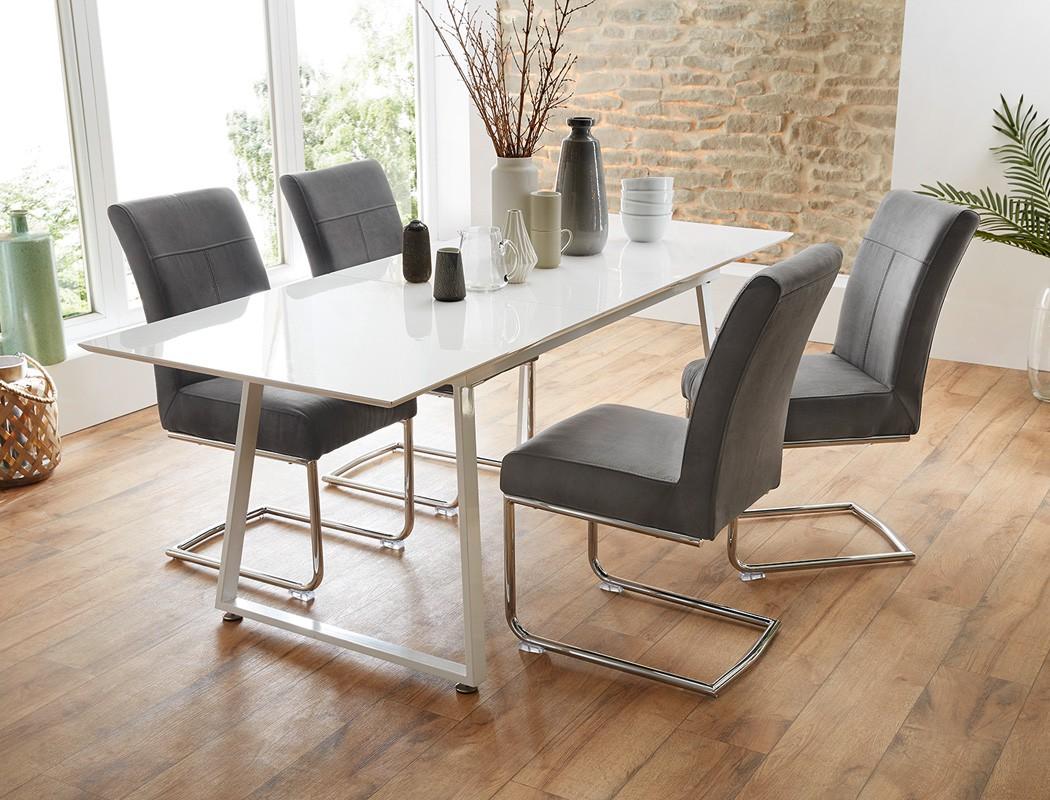4x schwingstuhl fabio stoff grau freischwinger. Black Bedroom Furniture Sets. Home Design Ideas