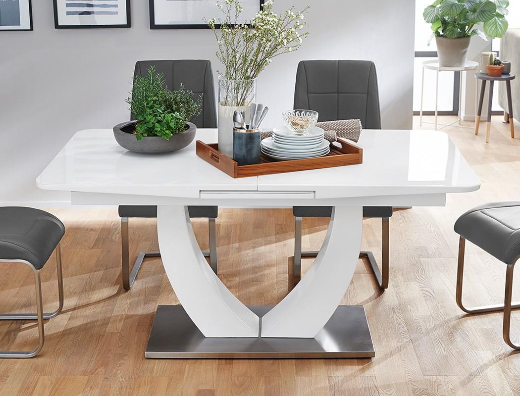 tischgruppe s ulentisch ulrik wei 4 st hle gemma grau essgruppe wohnbereiche esszimmer. Black Bedroom Furniture Sets. Home Design Ideas