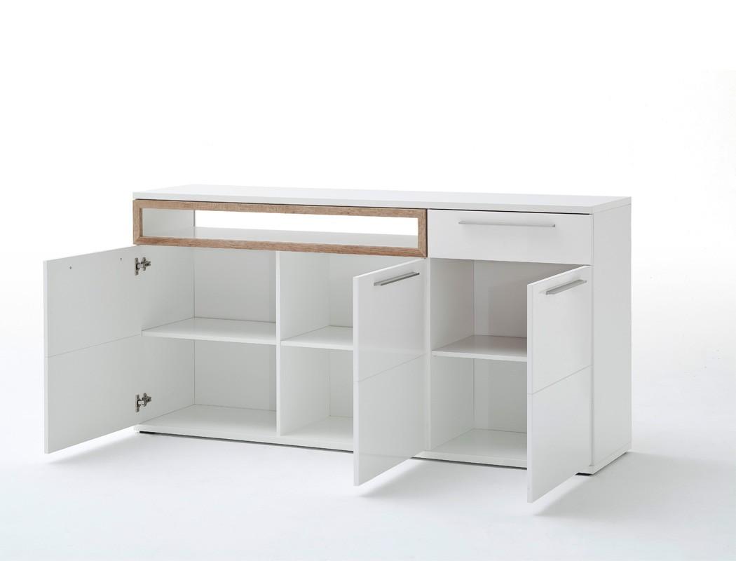sideboard parla 1 wei hochglanz 180x91x45 cm anrichte wohnzimmer wohnbereiche wohnzimmer. Black Bedroom Furniture Sets. Home Design Ideas