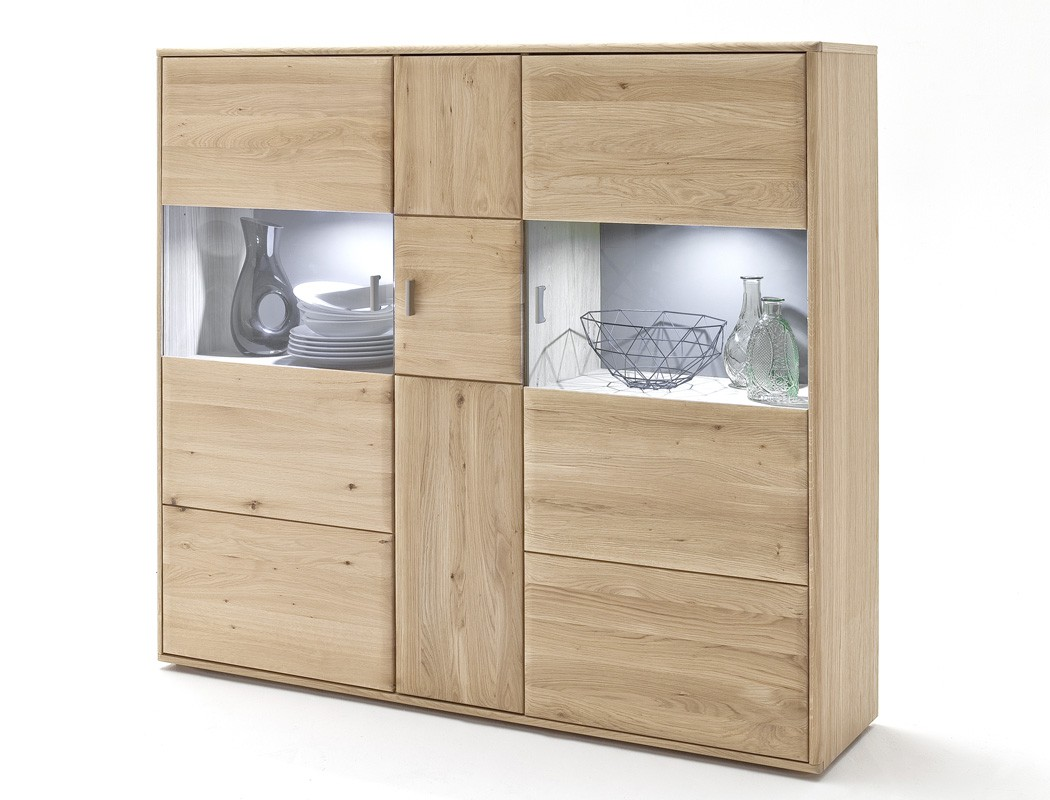highboard eiche bianco massiv 154x140x39 cm vitrine. Black Bedroom Furniture Sets. Home Design Ideas