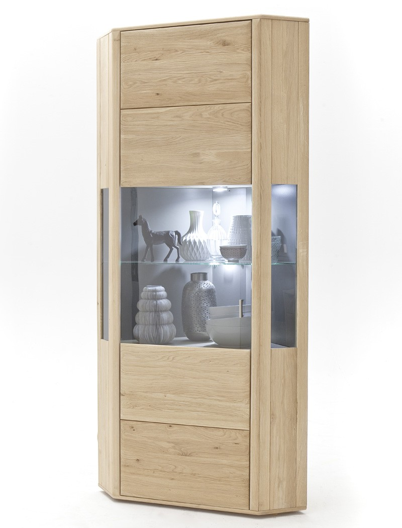 eckvitrine eiche bianco massiv 69x206x69cm eckschrank esszimmer schrank torrent ebay. Black Bedroom Furniture Sets. Home Design Ideas