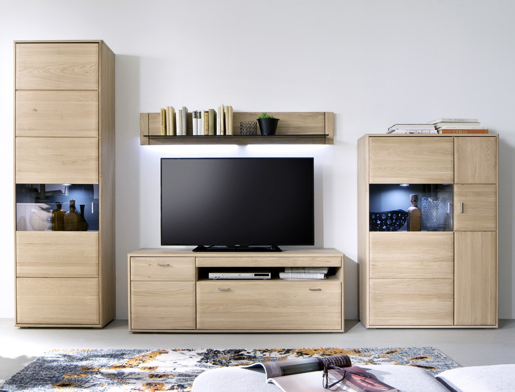 wohnwand torrent 20 eiche bianco 4 teilig 328x206x52cm mit beleuchtung wohnbereiche wohnzimmer. Black Bedroom Furniture Sets. Home Design Ideas