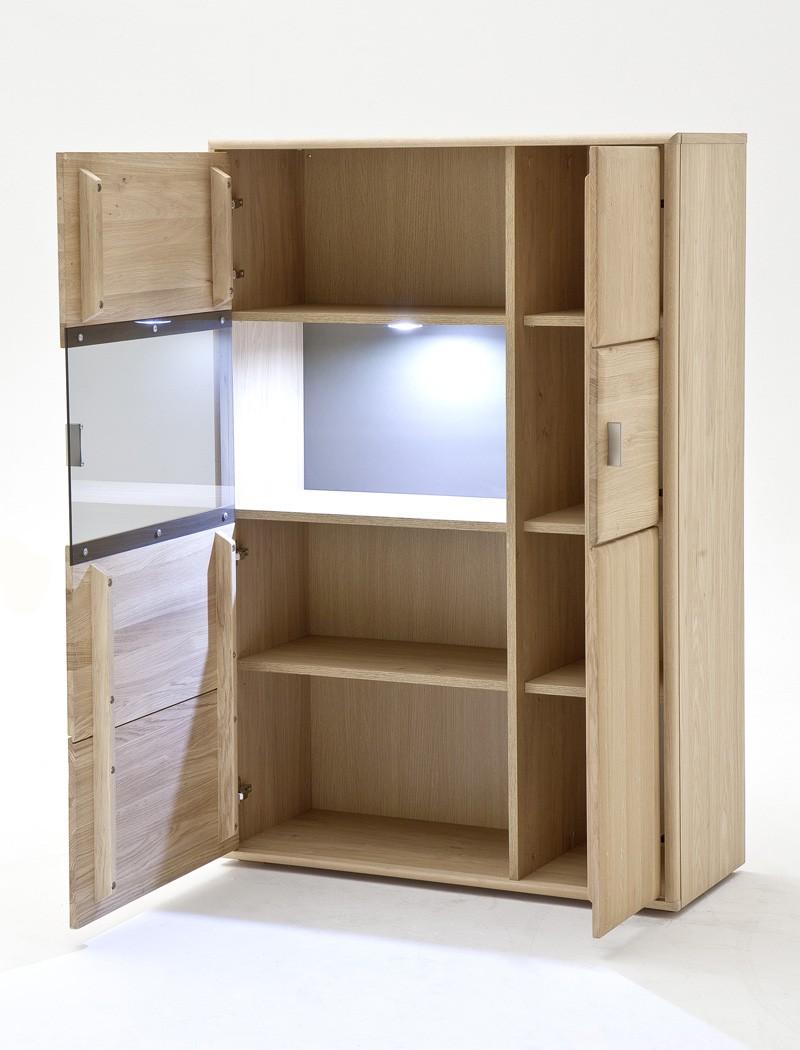 wohnwand eiche bianco 4 teilig 328x206x52 mit beleuchtung. Black Bedroom Furniture Sets. Home Design Ideas