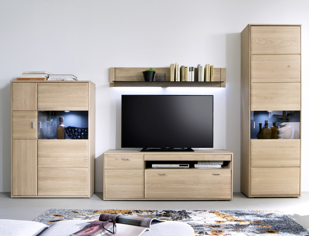 wohnwand torrent 21 eiche bianco 4 teilig 328x206x52cm mit beleuchtung wohnbereiche wohnzimmer. Black Bedroom Furniture Sets. Home Design Ideas