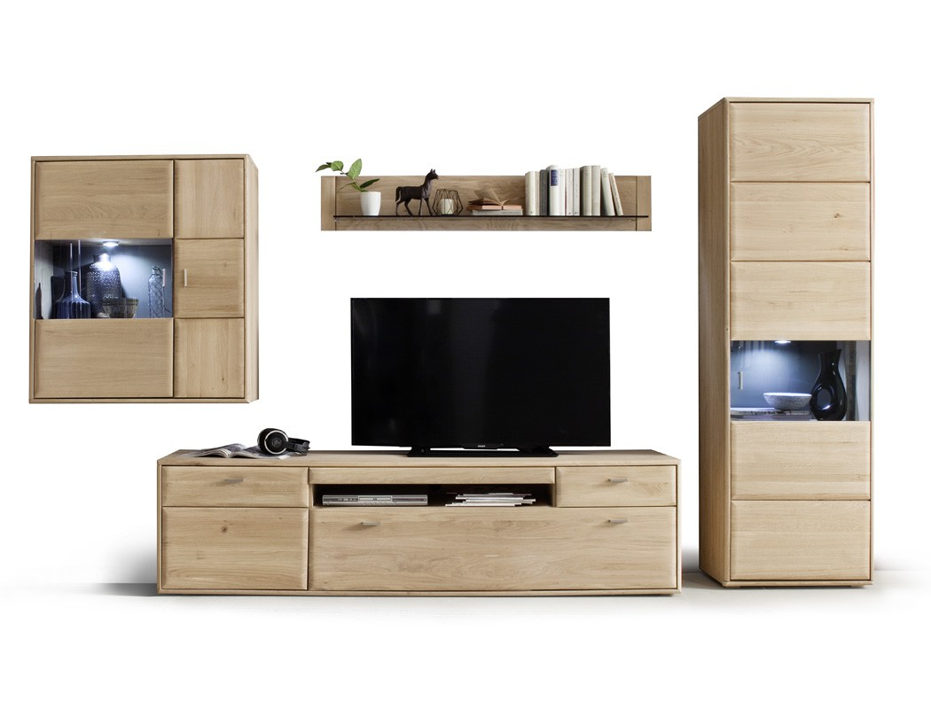 wohnwand torrent 23 eiche bianco 4 teilig 328x206x52cm mit beleuchtung wohnbereiche wohnzimmer. Black Bedroom Furniture Sets. Home Design Ideas