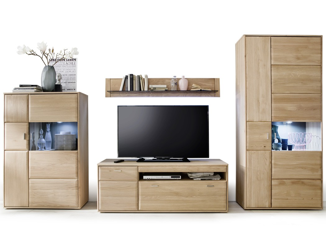 wohnwand torrent 25 eiche bianco 4 teilig 358x206x52cm mit beleuchtung wohnbereiche wohnzimmer. Black Bedroom Furniture Sets. Home Design Ideas