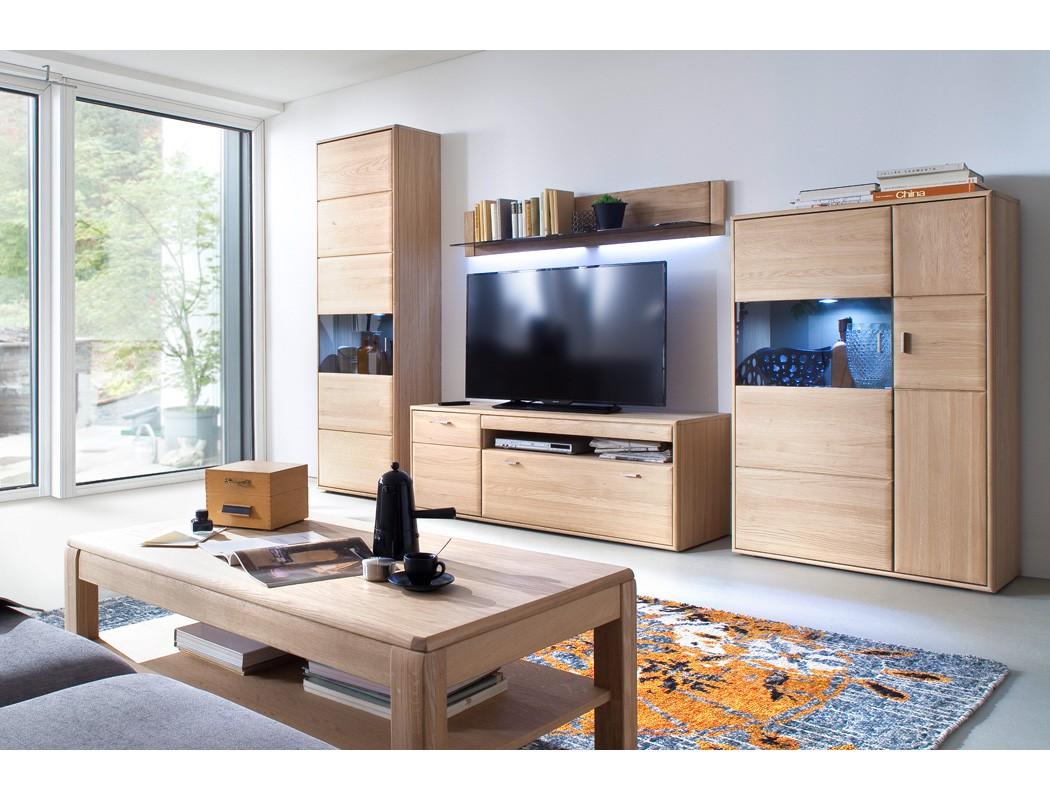 Wohnzimmer Torrent 30 Eiche Bianco 5 Teilig Wohnwand Tisch Beleuchtung