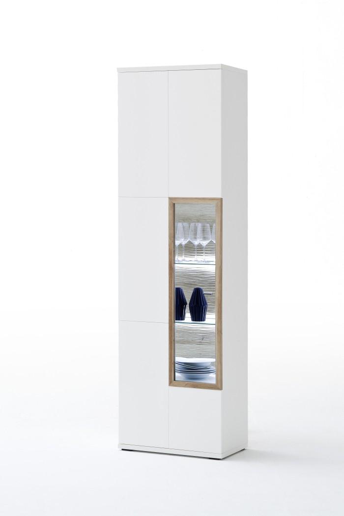 vitrine parla 4 wei hochglanz 60x207x37 cm glasvitrine wohnzimmer - Wohnzimmer Vitrine Weis Hochglanz