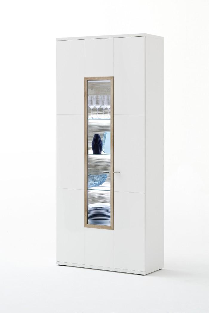 vitrine parla 5 wei hochglanz 90x207x37 cm glasvitrine wohnzimmer wohnbereiche esszimmer. Black Bedroom Furniture Sets. Home Design Ideas