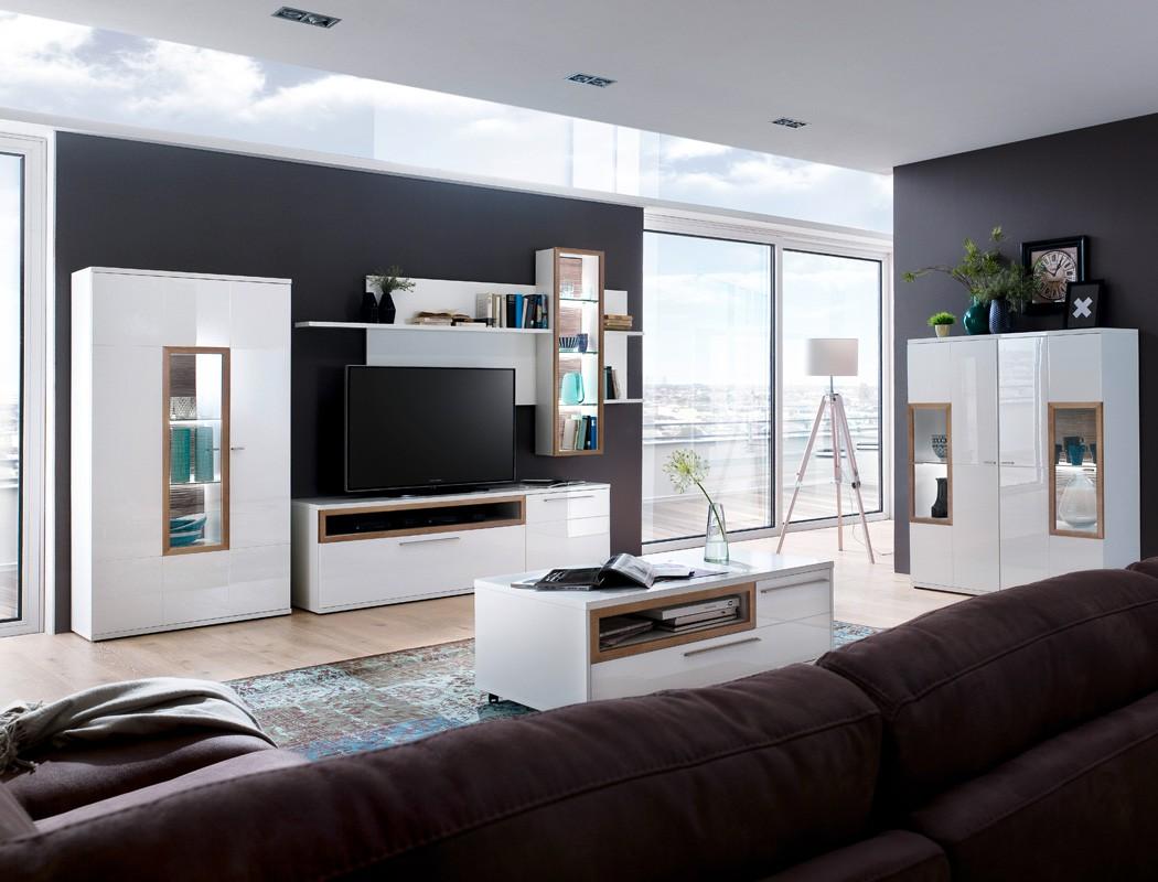 vitrine parla 6 wei hochglanz 90x174x37 cm glasvitrine wohnzimmer wohnbereiche esszimmer. Black Bedroom Furniture Sets. Home Design Ideas