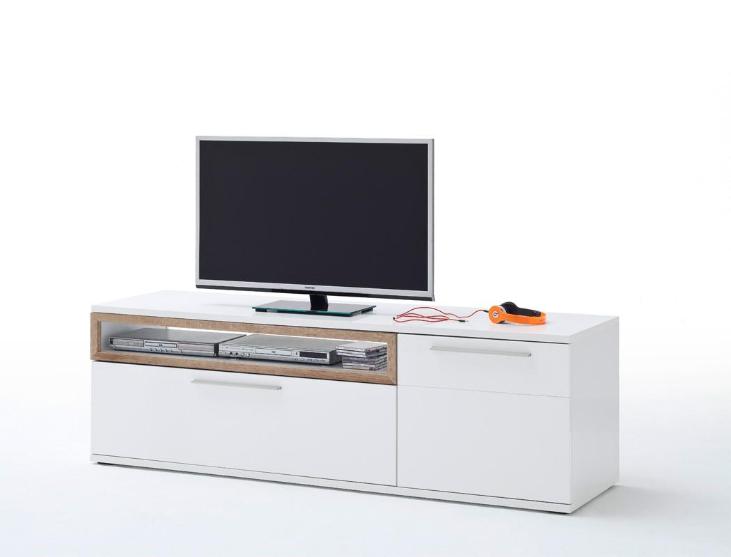 lowboard parla 8 wei hochglanz 180x57x50 cm tv m bel tv schrank wohnbereiche wohnzimmer. Black Bedroom Furniture Sets. Home Design Ideas
