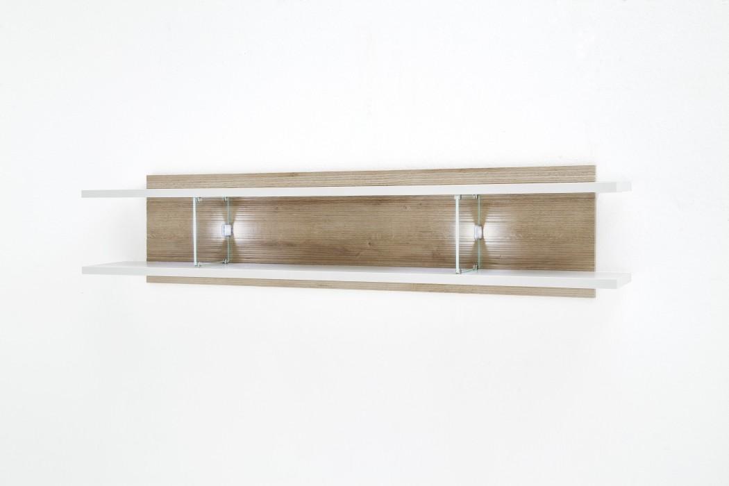 wandboard parla 9 wei hochglanz 150x35x25 cm wandregal b cherregal wohnbereiche wohnzimmer regale. Black Bedroom Furniture Sets. Home Design Ideas