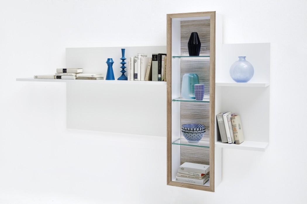 wandboard parla 10 wei hochglanz 220x130x24 cm wandregal b cherregal wohnbereiche wohnzimmer regale. Black Bedroom Furniture Sets. Home Design Ideas