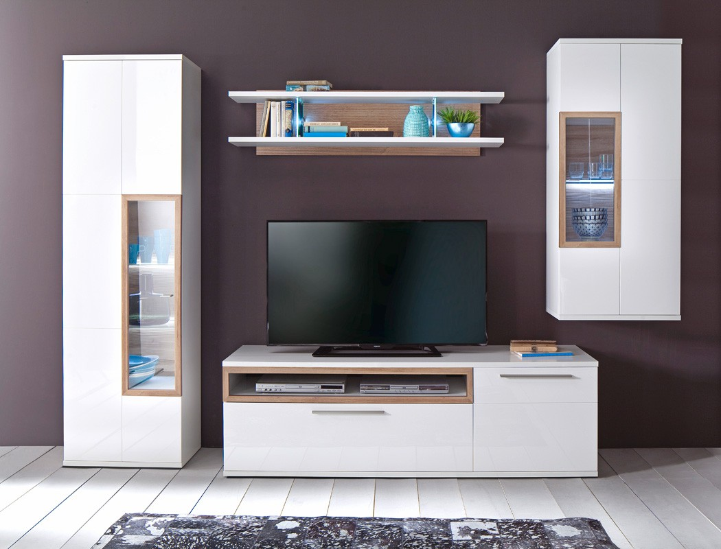 wohnwand parla 21 wei hochglanz 4 teilig medienwand tv. Black Bedroom Furniture Sets. Home Design Ideas