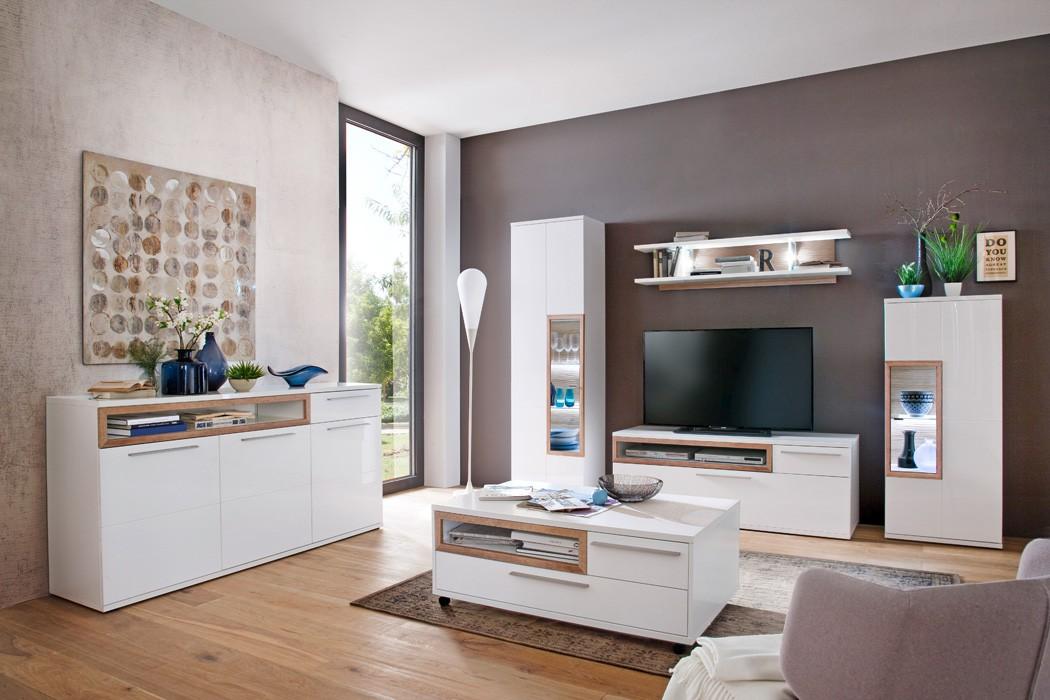 wohnzimmer parla 30 wei hochglanz 6 teilig wohnwand mit. Black Bedroom Furniture Sets. Home Design Ideas