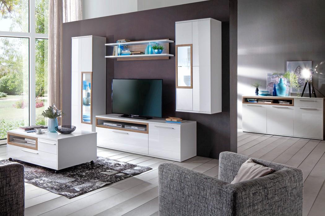 Wohnzimmer Parla 31 Weiss Hochglanz 6 Teilig Wohnwand Mit LED Tisch