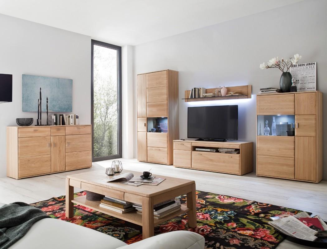 Wohnzimmer Torrent 33 Eiche Bianco 6 Teilig Wohnwand Sideboard Tisch