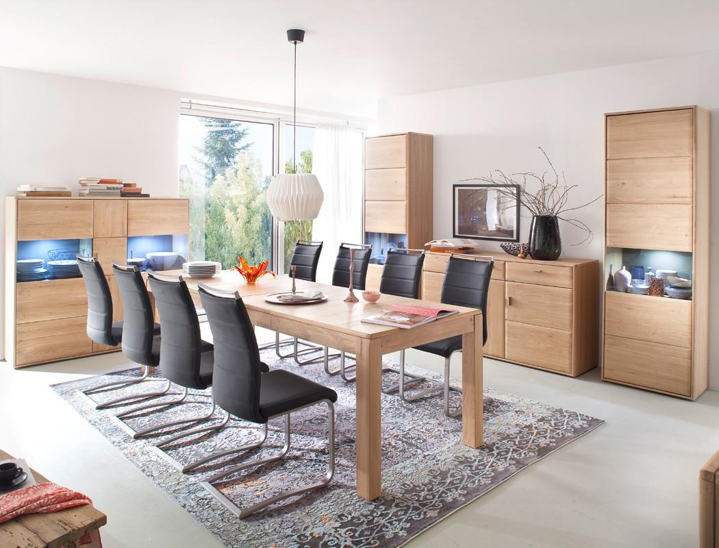 Esszimmermöbel eiche modern  Esszimmer Eiche bianco 13-teilig Esszimmermöbel Stühle Vitrinen LED ...