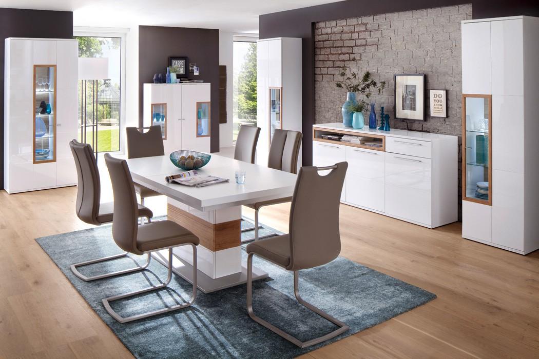 esszimmer parla 40 wei hochglanz 6 teilig esstisch vitrine mit led wohnbereiche esszimmer. Black Bedroom Furniture Sets. Home Design Ideas