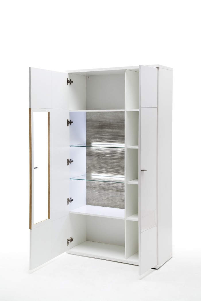 esszimmer parla 41 wei hochglanz 4 teilig esstisch vitrine mit led wohnbereiche esszimmer. Black Bedroom Furniture Sets. Home Design Ideas