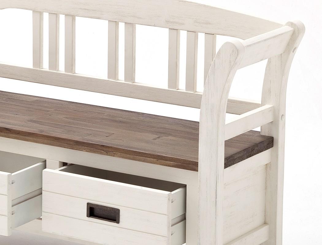 holzbank gordon 2 weiss struktur akazie 120x80x40 sitzbank mit lehne wohnbereiche esszimmer. Black Bedroom Furniture Sets. Home Design Ideas