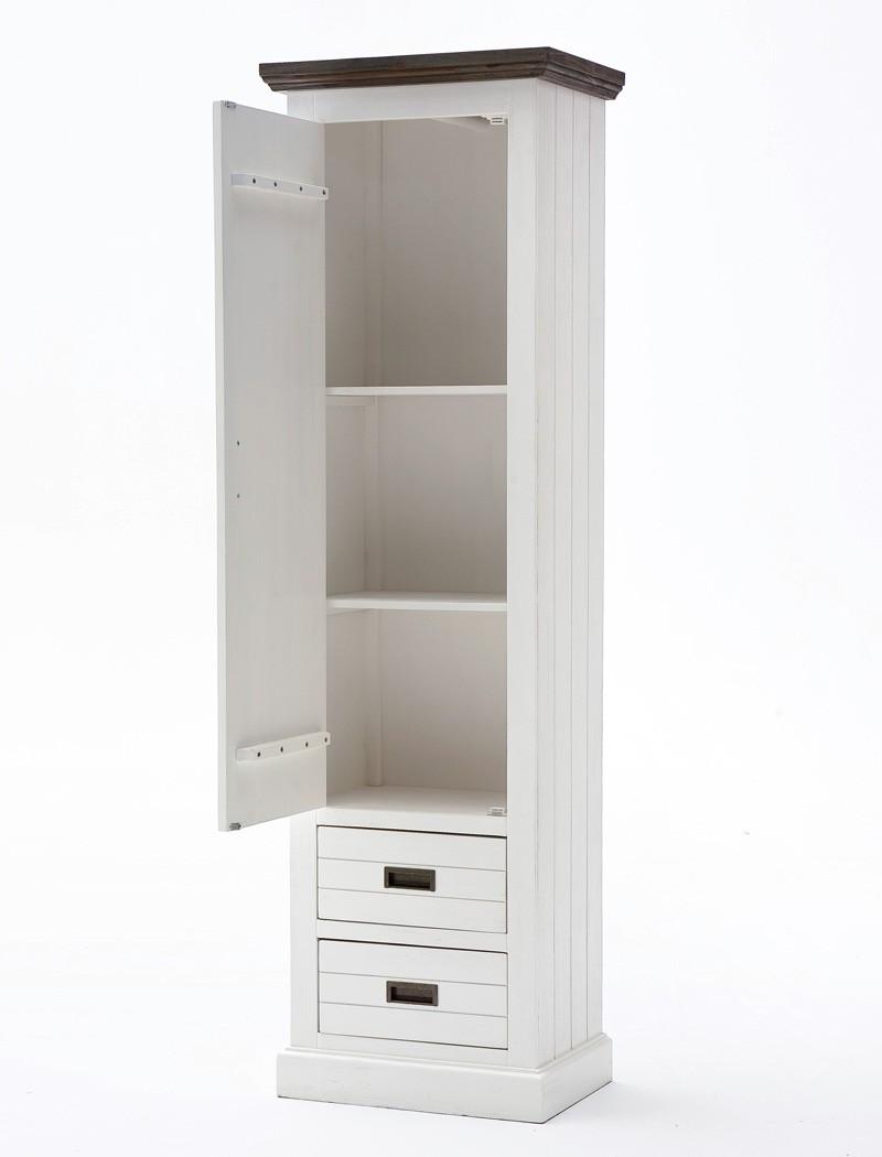 Garderobenschrank gordon 3 weiss struktur akazie 60x200x40 for Garderobe 200 cm