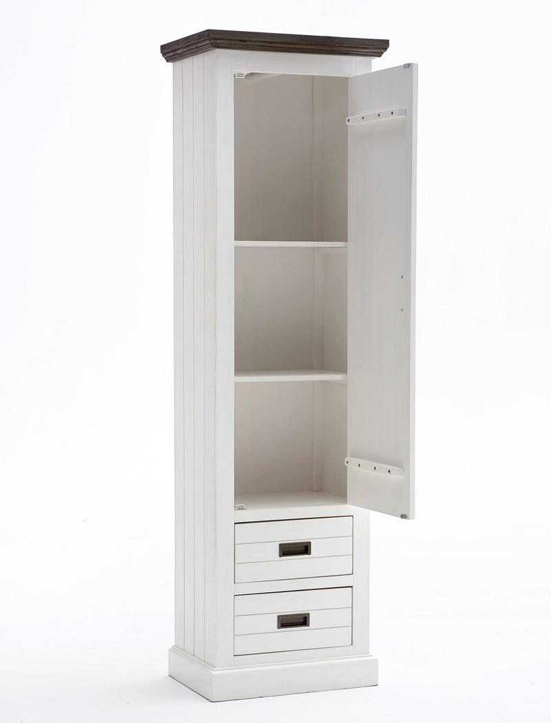 Garderobenschrank gordon 4 weiss struktur akazie 60x200x40 for Garderobe 200 cm