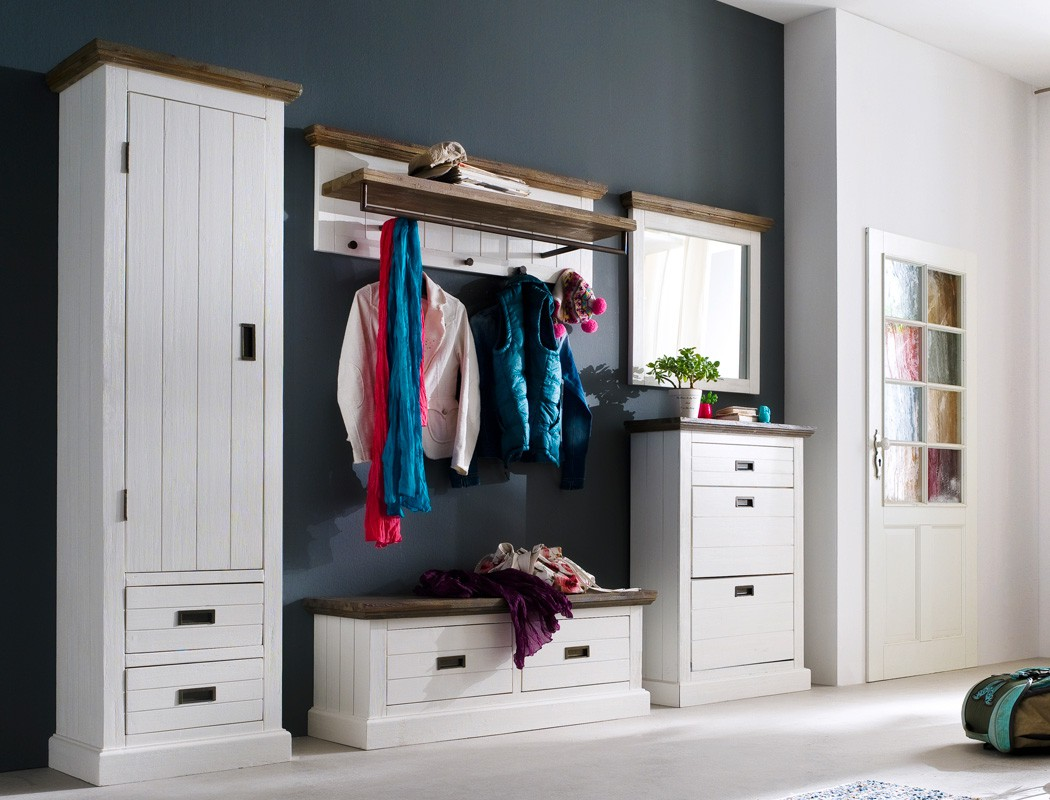 garderobe weiss akazie 5 teilig 280x200x40 cm dielenset flurgarderobe gordon 23 ebay. Black Bedroom Furniture Sets. Home Design Ideas