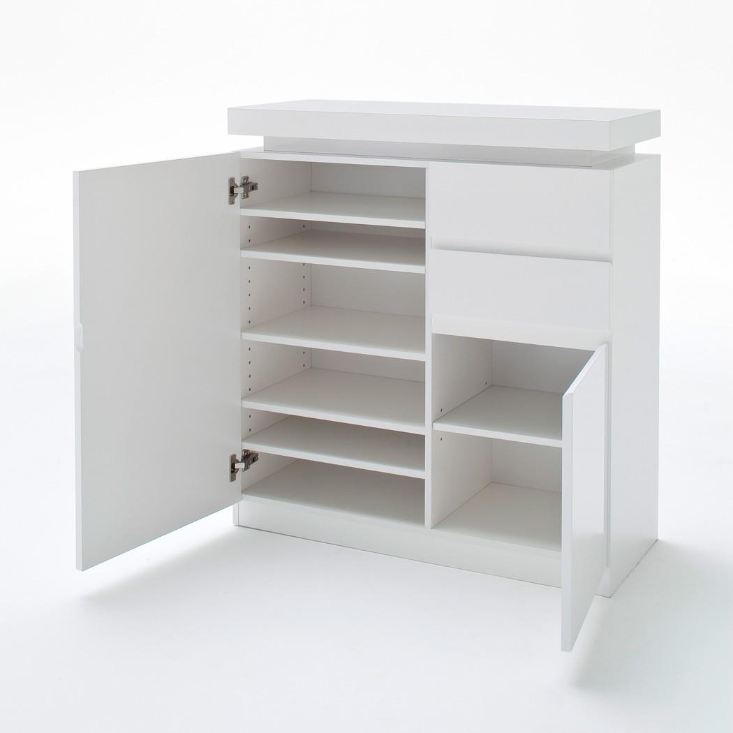 garderobe odin hochglanz wei 5 teilig led beleuchtung garderobenm bel wohnbereiche bad. Black Bedroom Furniture Sets. Home Design Ideas