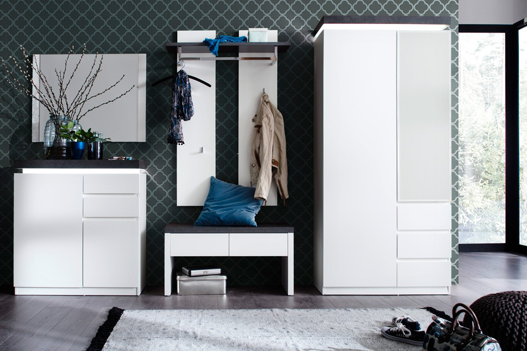 garderobe atlee wei 5 teilig led beleuchtung garderobenm bel diele wohnbereiche bad garderobe. Black Bedroom Furniture Sets. Home Design Ideas