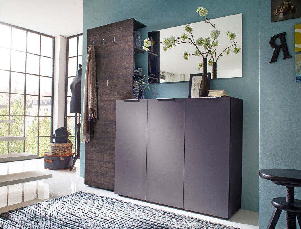 kommode anthrazit 120x101x39 cm sideboard garderobe schuhschrank flur victoria 2 ebay. Black Bedroom Furniture Sets. Home Design Ideas