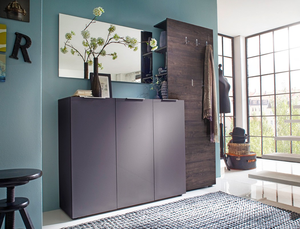 Garderobe anthrazit wenge 3 teilig garderobenm bel garderobenset victoria 11 ebay - Garderobenmobel design ...