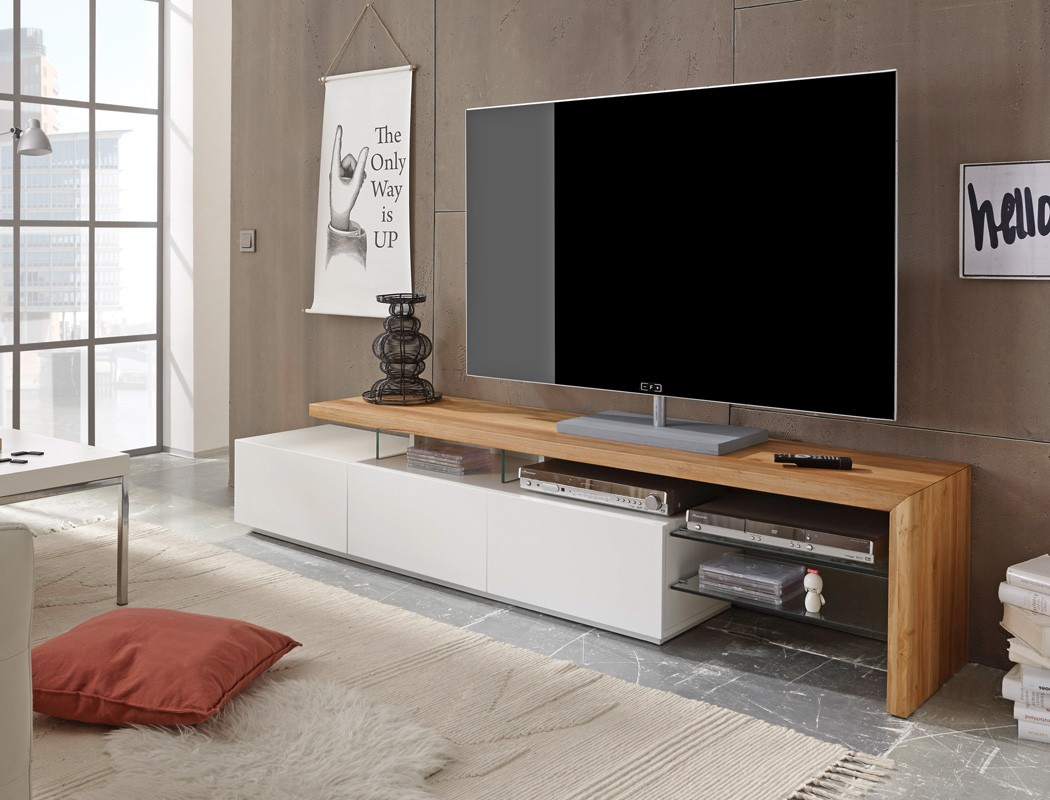 lowboard 204x40x44cm wei eiche tv board tv m bel tv schrank wohnzimmer alessa i. Black Bedroom Furniture Sets. Home Design Ideas