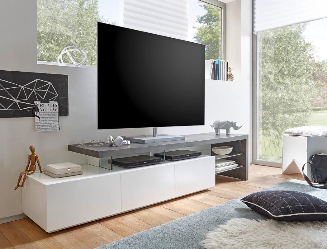 lowboard alessa ii 204x40x44 cm wei beton dekor tv board. Black Bedroom Furniture Sets. Home Design Ideas