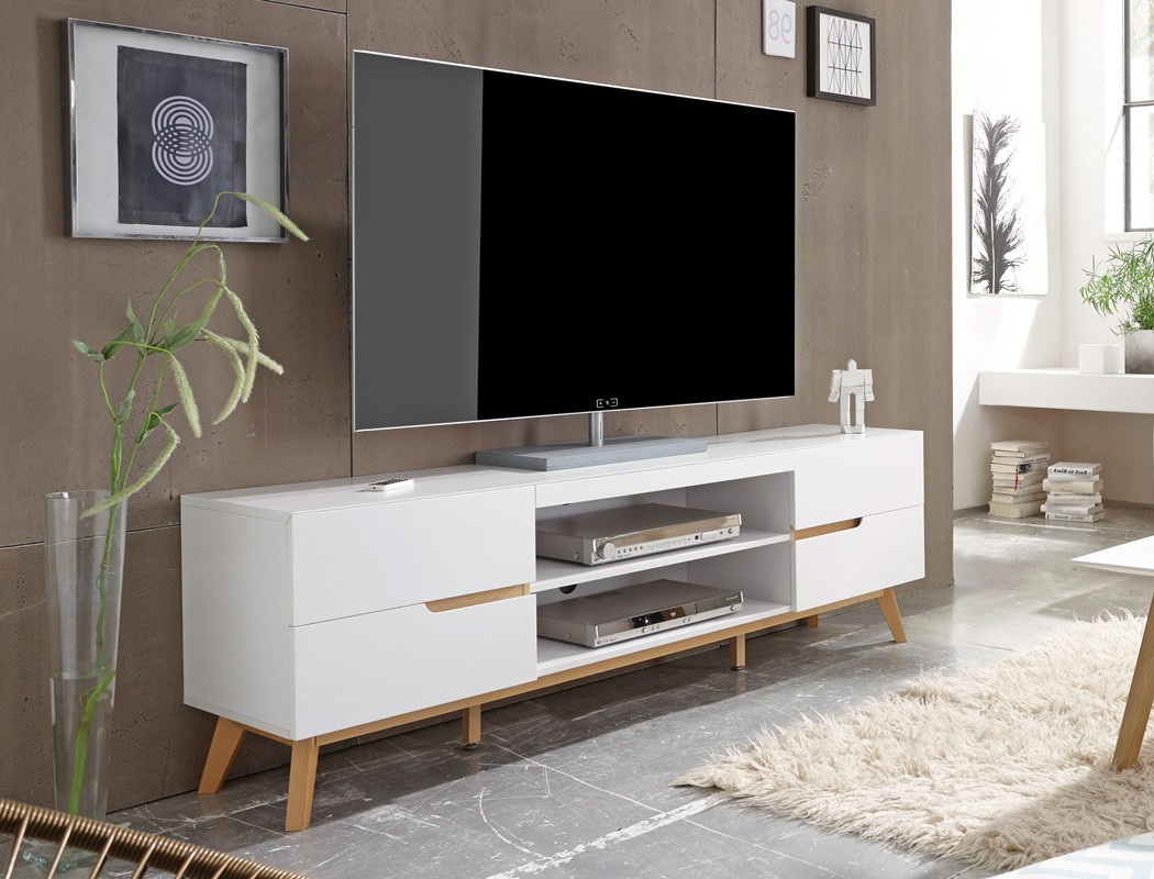 lowboard wei eiche 169x56x40 cm tv board tv m bel wohnzimmer wohnm bel celio 1 ebay. Black Bedroom Furniture Sets. Home Design Ideas