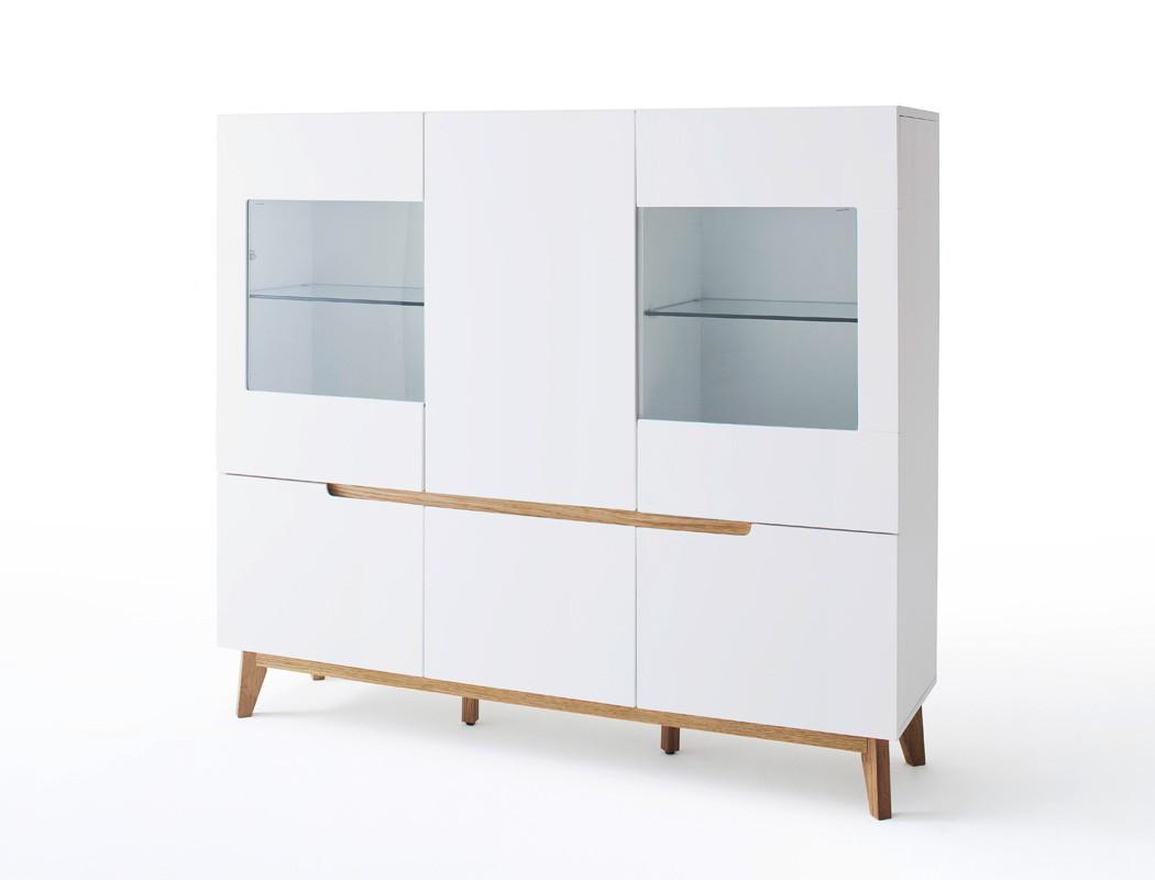 highboard celio 6 wei eiche 155x138x40 cm vitrine schrank wohnzimmer wohnbereiche esszimmer. Black Bedroom Furniture Sets. Home Design Ideas
