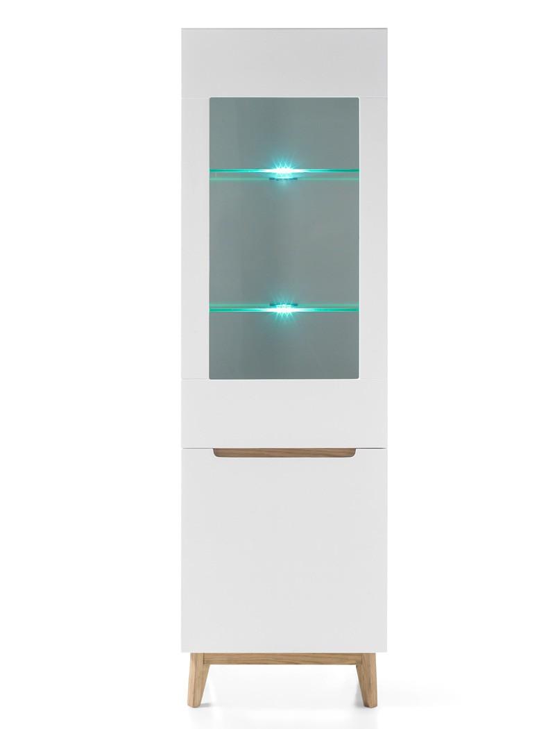 vitrine celio 9 rechts wei eiche 59x193x40 cm glasvitrine schrank wohnbereiche esszimmer. Black Bedroom Furniture Sets. Home Design Ideas