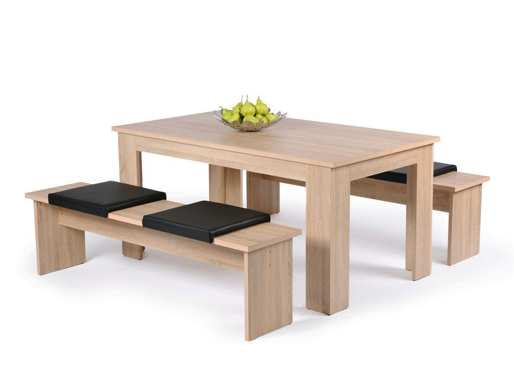 tischgruppe hamburg esstisch 140x80 cm 2x bank eiche sonoma essgruppe wohnbereiche esszimmer. Black Bedroom Furniture Sets. Home Design Ideas