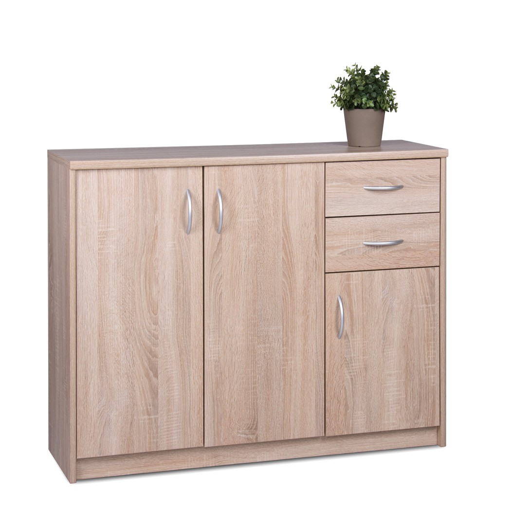 sideboard eiche sonoma 109x85x35 cm anrichte wohnzimmer esszimmer koblenz 2 ebay. Black Bedroom Furniture Sets. Home Design Ideas