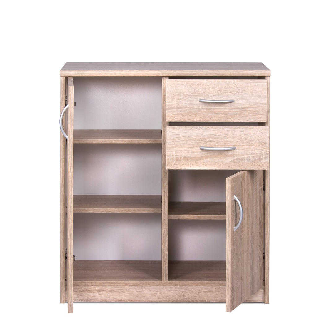 sideboard eiche sonoma 74x85x35 cm anrichte wohnzimmer esszimmer koblenz 3 ebay. Black Bedroom Furniture Sets. Home Design Ideas