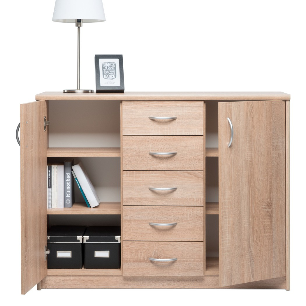 kommode eiche sonoma 109x85x35 cm sideboard schrank wohnzimmer koblenz 8 ebay. Black Bedroom Furniture Sets. Home Design Ideas