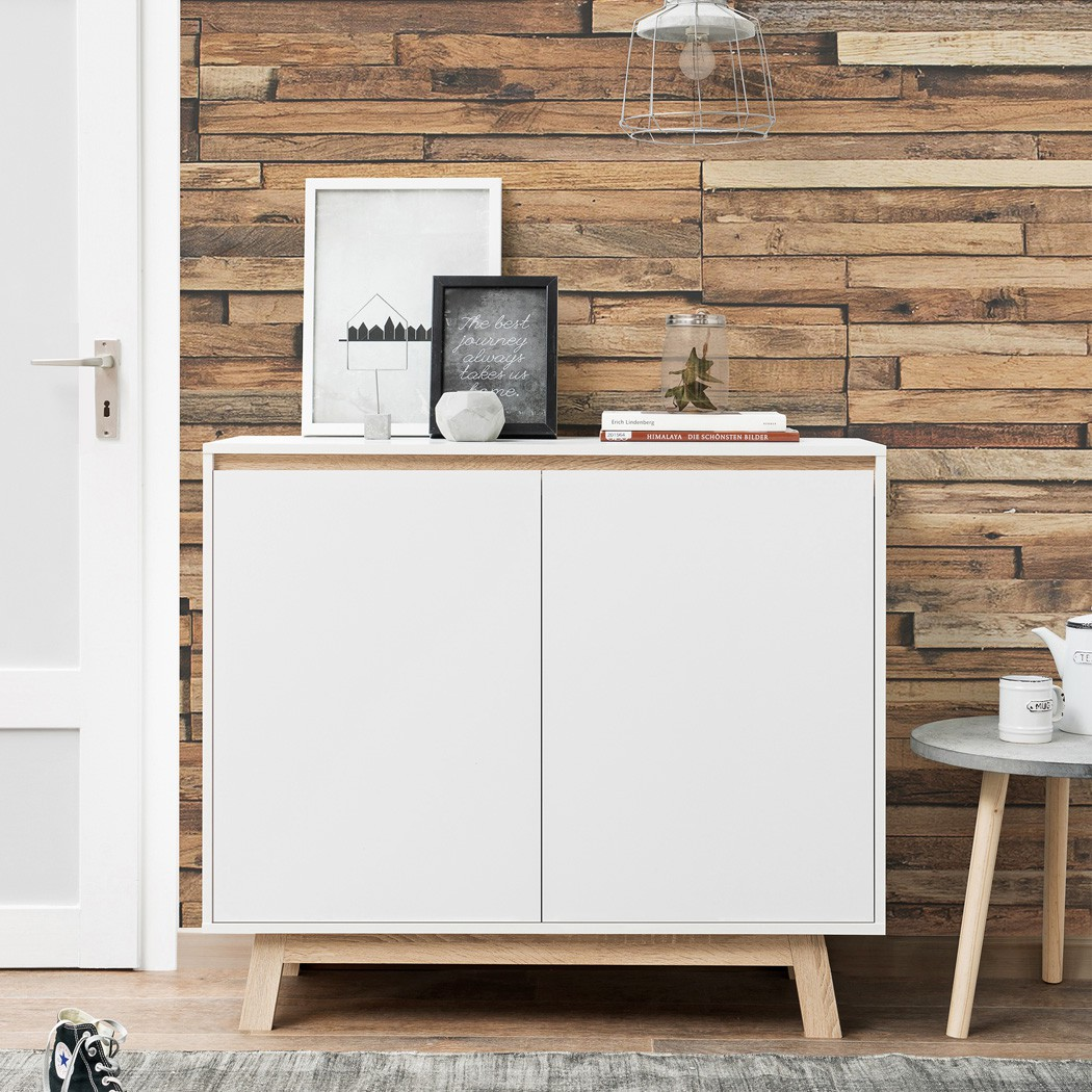 kommode anzo 1 wei 100x85x40 cm sideboard schrank wohnzimmerschrank wohnbereiche wohnzimmer. Black Bedroom Furniture Sets. Home Design Ideas