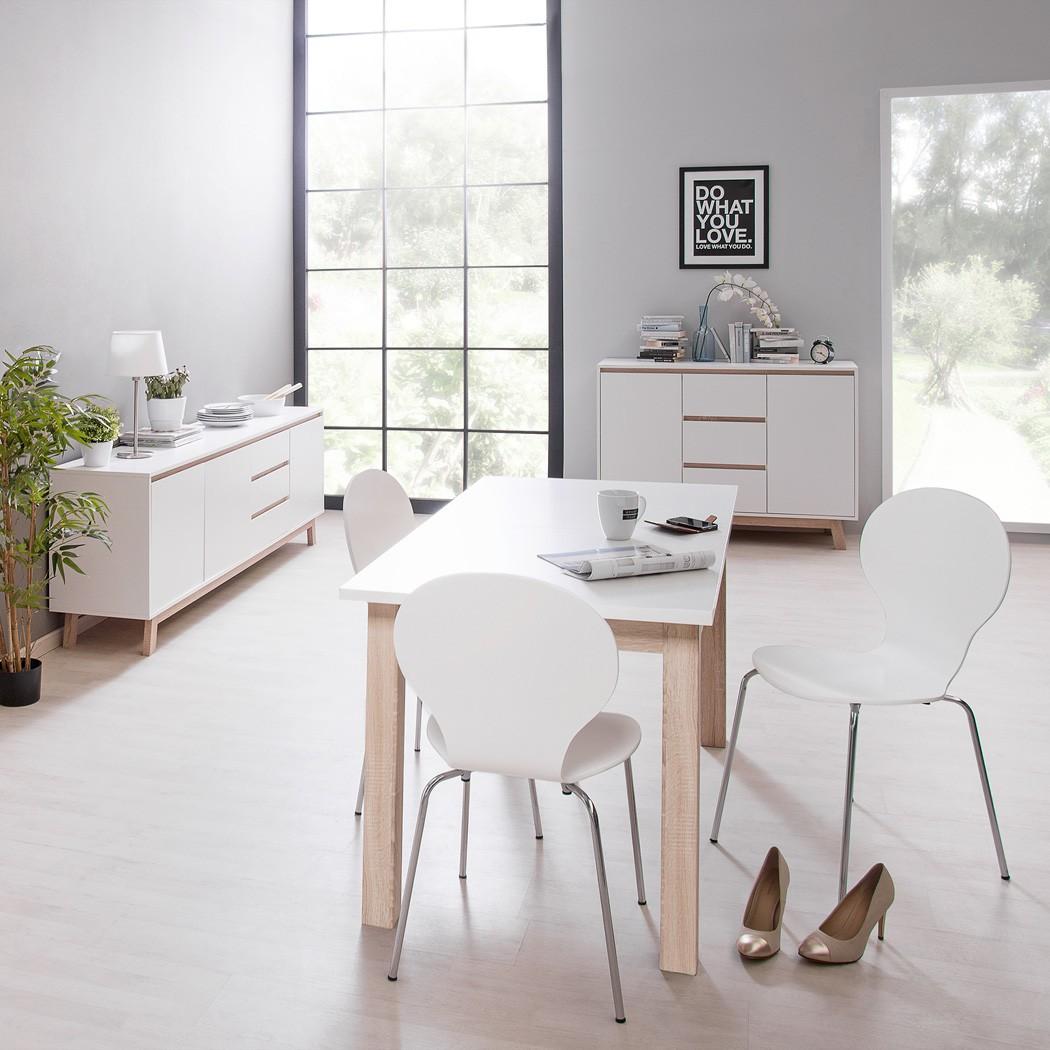 esstisch anzo 7 wei 140 190 x85x75 cm esszimmertisch ausziehtisch wohnbereiche esszimmer esstische. Black Bedroom Furniture Sets. Home Design Ideas
