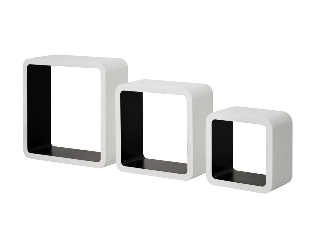 wandregal clio set 3 teilig wei schwarz wandboard regal h ngeregal wohnbereiche wohnzimmer regale. Black Bedroom Furniture Sets. Home Design Ideas