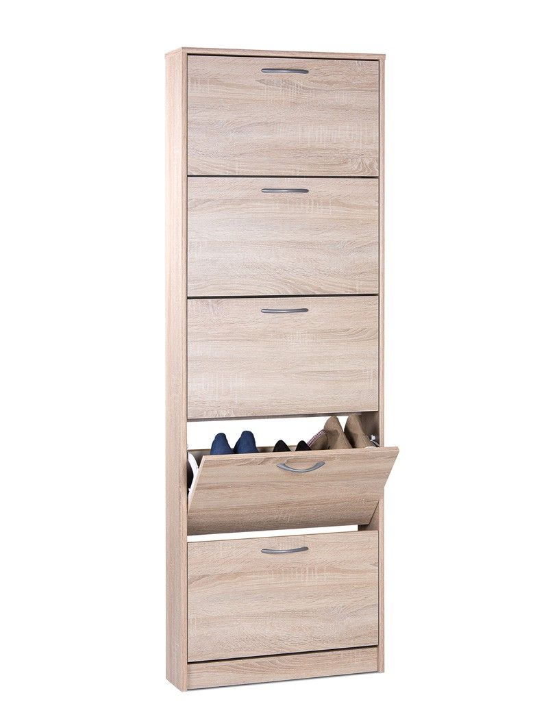 schuhschrank eiche sonoma 58x169x17 cm schuhkipper. Black Bedroom Furniture Sets. Home Design Ideas