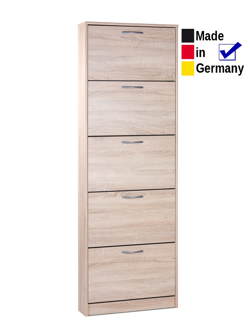 schuhschrank weko 3 eiche sonoma 58x169x17cm schuhkipper. Black Bedroom Furniture Sets. Home Design Ideas